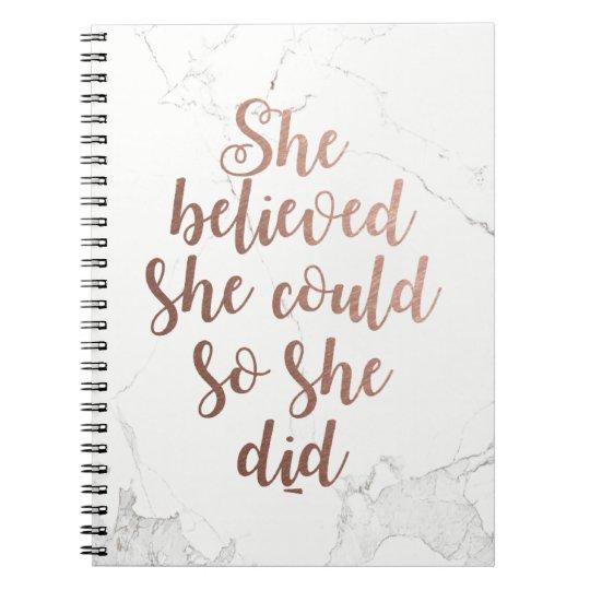 """""""Zij geloofde zij kon zodat zij"""" toenam Goud Ringband Notitieboek"""
