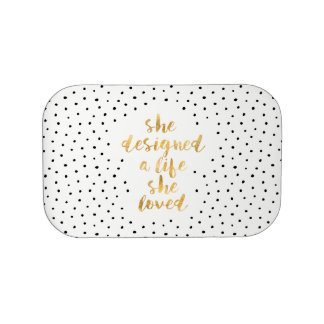Zij ontwierp het Leven zij met faux van gouden Lunchbox