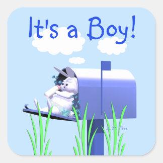 Zijn een Jongen - het Konijntje van het Baby in Br Vierkante Stickers