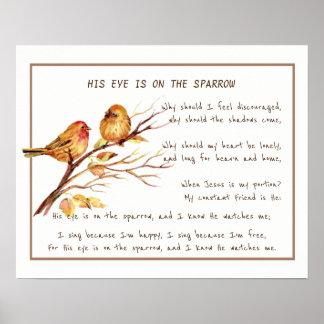 Zijn Oog is op het Art. van de Hymne van de Mus Poster