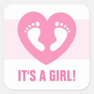 Zijn voetafdrukken van het een meisjesbaby in roze vierkant sticker