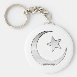 Zilver Gekleurde Ster en Toenemend Symbool Basic Ronde Button Sleutelhanger