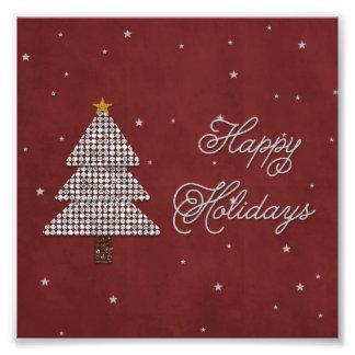 Zilver van de Vakantie van de Kerstboom van de Fotoafdrukken