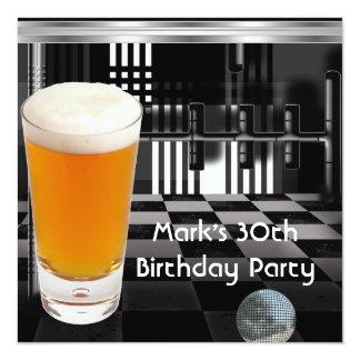 Zilver van het Mannen Bier van de Partij van de 13,3x13,3 Vierkante Uitnodiging Kaart