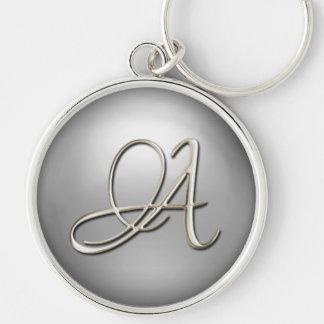 Zilveren Aanvankelijke Keychain Zilverkleurige Ronde Sleutelhanger