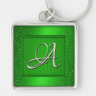 Zilveren Aanvankelijke Keychain Zilverkleurige Vierkante Sleutelhanger