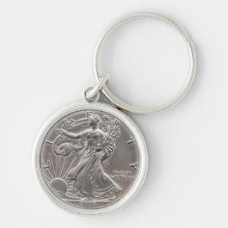 zilveren adelaar zilverkleurige ronde sleutelhanger