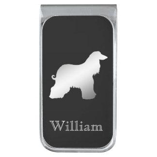 Zilveren Afghaanse Gepersonaliseerde Hond Verzilverde Geldclip