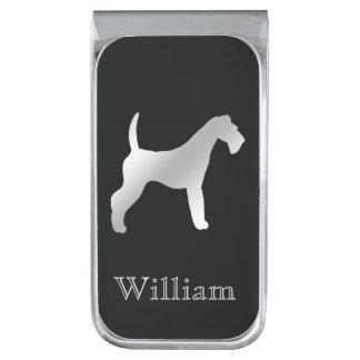 Zilveren Airedale Gepersonaliseerd Terrier Verzilverde Geldclip