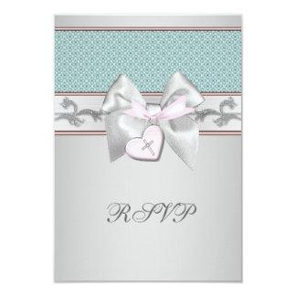 Zilveren Blauwgroen Roze Meisjes die RSVP dopen 8,9x12,7 Uitnodiging Kaart