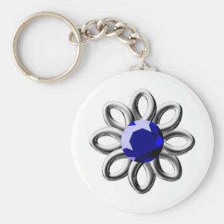 Zilveren bloem met arduinsteen basic ronde button sleutelhanger