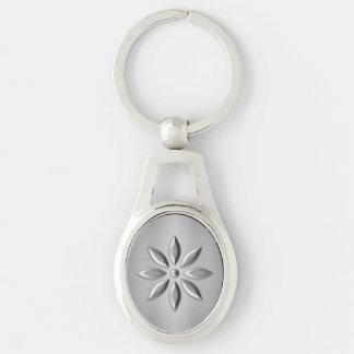 Zilveren bloem zilverkleurig ovalen sleutelhanger