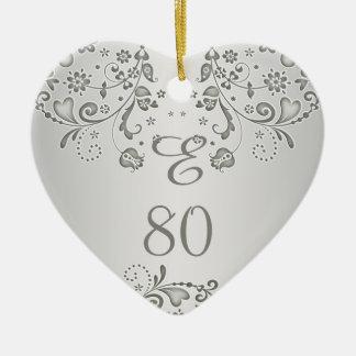 Zilveren bloemen het hartOrnament van de Keramisch Hart Ornament