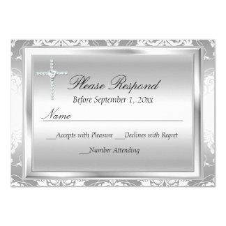 Zilveren Damast & Dwars van het Doopsel Rsvp- 11,4x15,9 Uitnodiging Kaart