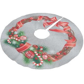 Zilveren Damast met de Kroon van Kerstmis Kerstboom Rok