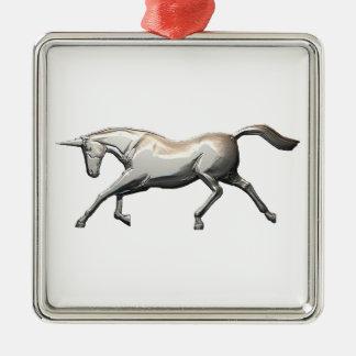 Zilveren Eenhoorn Zilverkleurig Vierkant Ornament