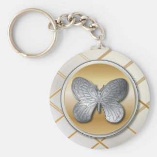 Zilveren en gouden effect vlinder bg5 basic ronde button sleutelhanger