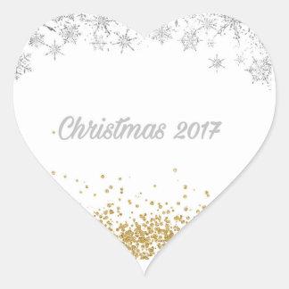 Zilveren en gouden het hartsticker van Kerstmis Hart Sticker
