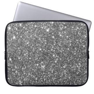 Zilveren Faux schittert Modern Patroon Girly Laptop Sleeve