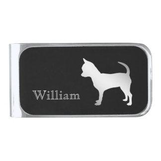 Zilveren Gepersonaliseerde Hond Chihuahua Verzilverde Geldclip