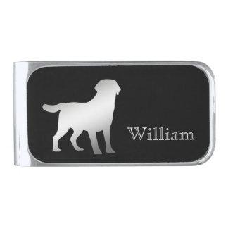 Zilveren Gepersonaliseerde Labrador Verzilverde Geldclip