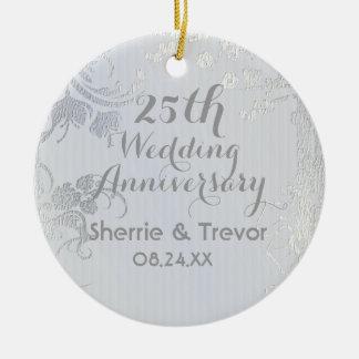 Zilveren Glimmer vijfentwintigste Jubileum Rond Keramisch Ornament