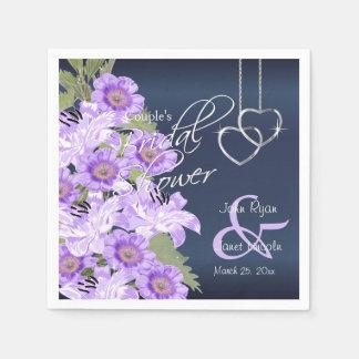 Zilveren Harten op het Satijn van de Lavendel & Papieren Servet