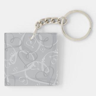Zilveren hartpatroon 2-Zijden vierkante acryl sleutelhanger