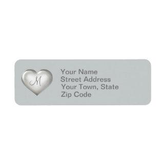 Zilveren het glashart van het monogram etiket