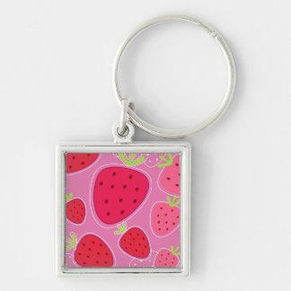Zilveren keychain met Aardbeien Zilverkleurige Vierkante Sleutelhanger