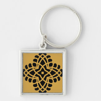 Zilveren keychain met Ornament Zilverkleurige Vierkante Sleutelhanger
