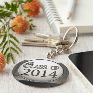 Zilveren Klasse van 2014 Keychain Basic Ronde Button Sleutelhanger