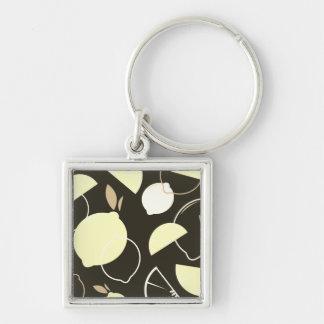 Zilveren knoop met Origineel fruit Zilverkleurige Vierkante Sleutelhanger