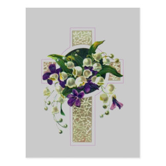Zilveren Kruis met Paarse Bloemen Briefkaart