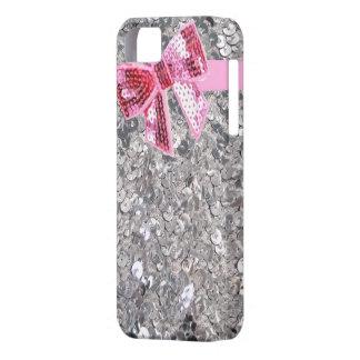 zilveren lovertjes/roze boogiphone5 hoesje