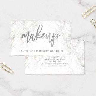 Zilveren Manuscript op de Witte Marmeren Make-up Visitekaartjes