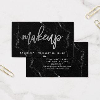 Zilveren Manuscript op de Zwarte Marmeren Make-up Visitekaartjes