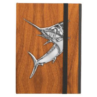 Zilveren Marlijn op het Houten Decor van de Teak iPad Air Hoesje