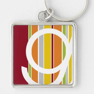 Zilveren metaal keychain met purplSCD logo op wit Sleutelhanger