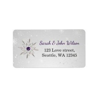 zilveren paars het adresetiket van de addressticker