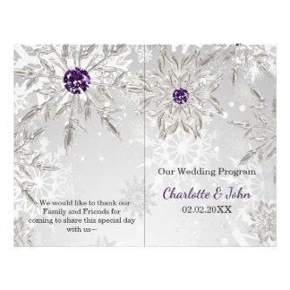 zilveren paars het huwelijksprogramma van de flyer 21,6 x 27,9 cm