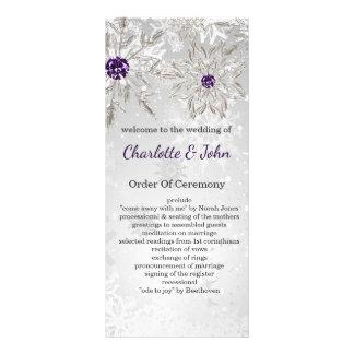 zilveren paarse het huwelijksprogramma's van de 10,2x 22,9 cm reclamekaart