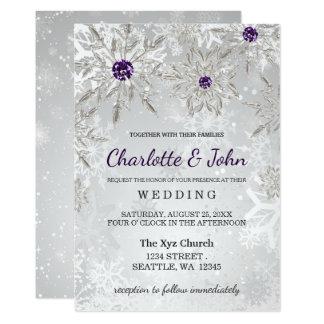 zilveren paarse het huwelijksuitnodiging van de 12,7x17,8 uitnodiging kaart