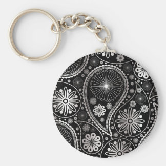 Zilveren Paisley patroon Basic Ronde Button Sleutelhanger