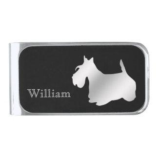 Zilveren Schots Gepersonaliseerd Terrier Verzilverde Geldclip