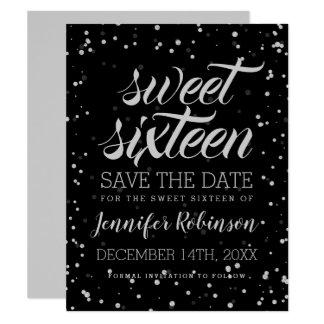 Zilveren Sweet16 sparen Datum schitteren de Kaart