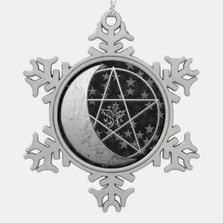 Zilveren Toenemende Herinnering 2 van de Maan & Tin Sneeuwvlok Ornament