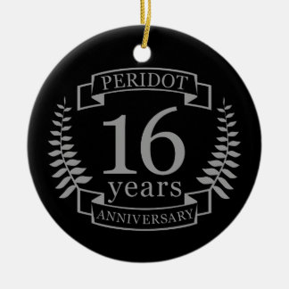 Zilveren Traditionele huwelijksverjaardag 16 jaar Rond Keramisch Ornament