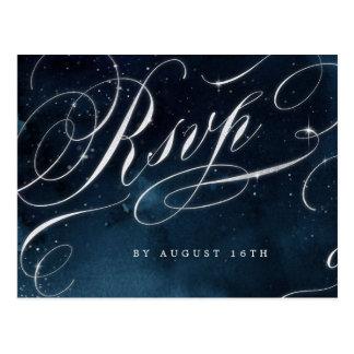 Zilveren vintage de kalligrafie glam huwelijk RSVP Briefkaart