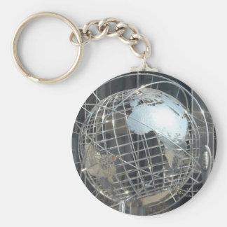 zilveren wereldbol basic ronde button sleutelhanger